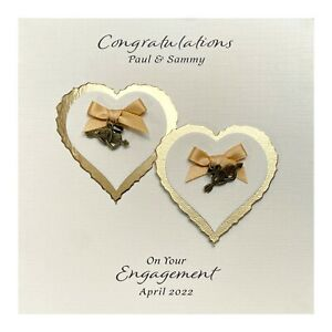 Handmade PERSONALISED Engagement Card - Heart Charms