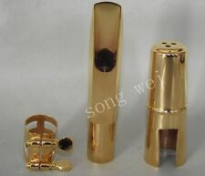 Tenor sax metal mouthpiece ligature cap Gold plate 7# or 8# Good sound