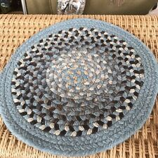 Vintage Wool Braided Small Rug Round BLue Brown Gray Cream