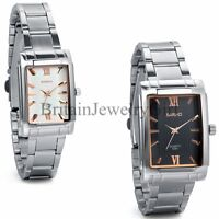 Men Women Watches Stainless Steel Strap Square Dial Analog Quartz Wrist Watch
