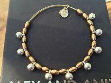 Silver Dangle Drop Gold Beaded Bangle Rare Alex and Ani Byzantine Vintage