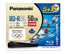 5 Panasonic BD-R DL 50GB 2X Speed Inkjet Printable Blu ray Discs Made in Japan