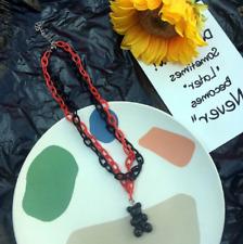 UK Black Red Cute Candy Gummy Bear Acrylic Multilayer Necklace Kawaii Jewellery