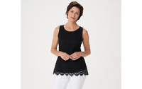 Isaac Mizrahi Live! Scoop-Neck Scallop Lace Knit Tank Top Black XS A353856 QVC