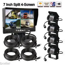 "7"" Split Quad Car Reversing Monitor 4 Video +4x Truck CCD Backup Camera 24V-12V"