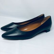 AQUATALIA Women's Black Leather Flat Almond Toe Italian Women's Shoe / Sz. 10.5