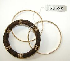 NEW GUESS GOLD TONE WITH BROWN 3 SET BANGLE BRACELET-GO809B-6+TAG