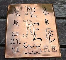 """Monogramm """" RE """" Wäschemonogramm Wäscheschablone Wäschezeichen 11/13 cm KUPFER"""