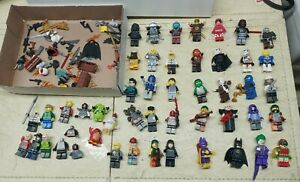 Lego mini figs Lot 36 Mini figures + misc weapons & pieces