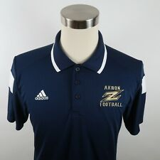 Akron Zips Mens Polyester Clima Lite SS Navy Blue Polo Shirt by Adidas Medium