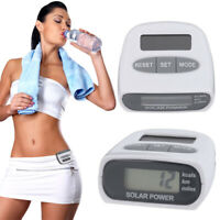 Solar-Powered LCD Pedometer Step Walking Calorie Counter Distance Fitness Sports