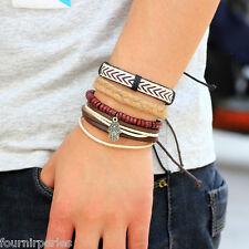 FP 1 Set(4pcs) Bracelet Multi Rangs Perle Bois Main de Fatma Rétro Cadeau 17cm