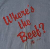 """VINTAGE 1984 WENDY-S """"WHERE'S THE BEEF"""" - PRE-OWNED - BLUE - UNISEX  LARGE"""