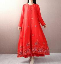 Womens Cotton Linen Floral Embroidery Loose Long Sleeve Maxi Dress A-Line YH