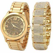 Men 14k Gold PT Iced Hip Hop Fashion Fully Cz Dome Bracelet & Miykon Watch Wrist