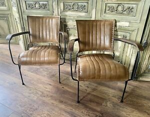 Pair Of Leather Cocktail chairs In Hand Stitched Tan. Metal Frame .Superb