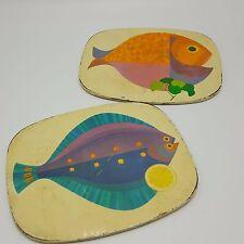 Psychedelic Mod Fish Trivet Tin Litho Cork Set 2 Rainbow Pink Blue Orange