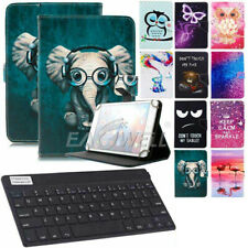 """US For 7"""" 8"""" 10"""" Android Tablet Wireless Keyboard + Flip Universal Leather Case"""