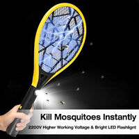 Electric Mosquito Zapper Racket Bug Fly Swatter Killer 3500V Rechargeable Safe