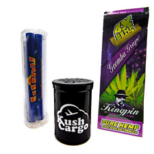 Kingpin Grape Hemp Wraps No Tobacco All Natural (1 Pack) + Cigar Rolling Machine