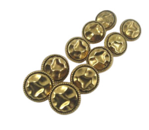 10 Round Quality Buttons Gold Colour Shank 12 mm Wide