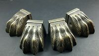 4 Antique Style Solid Brass Table Legs LION FEET FOOT CAPS ARCHITECTURAL #X8