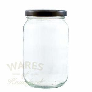 Jam Jars, 1lb, 370ml, FSA approved x 100, glass jam jars & black lids