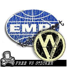 EMPI STICKER, + VOLKS WHIP, Cracked blue effect, panel van, longboard, cal look,