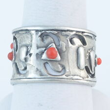 Size 8 with Red Sea Coral Handmade Vintage Darkened 925 Sterling Silver Ring