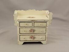 Dollhouse Miniature Shabby Chic Wood Dry Sink Washstand Floral Decals Chest 1:12