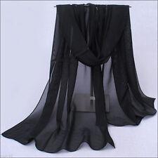 Women Fashion Solid Black Color Long Soft Chiffon Scarf Wrap Shawl Stole Scarves
