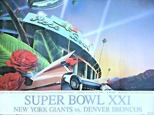 "ORIGINAL SUPER BOWL 21 BRONCHOS VS GIANTS POSTER FULL SIZE 28""X 22"" VGC 1987"