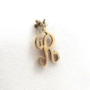 14K Gold Letter Initial Cursive R Charm Pendant