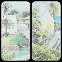 "Set of 2 Diana Amos Art Print Bermuda ""Somerset Bridge"" & ""Windsor Beach"" Framed"