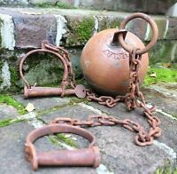 Yuma Territory Ball and Chain Rusted Cast Iron Jail Cell or Prison Prop