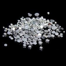 500pcs 5mm Metallic Silver Flat Back Half Round Resin Pearls Craft Gems C37