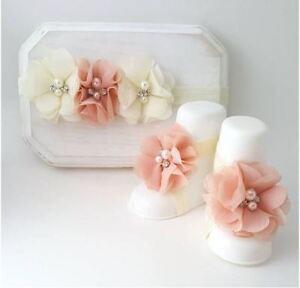 Baby Girls Pearl Chiffon Flower Shoes Headband Set Barefoot Sandals Photo Props