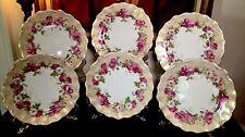 6 ANTIQUE TRESSEMANN & VOGT FRENCH LIMOGES HAND FINISHED ROSES SCALLOPED PLATES