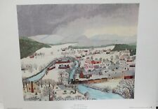 "GRANDMA MOSES HOOSICK FALLS IN WINTER"" VINTAGE COLOR LITHOGRAPH"