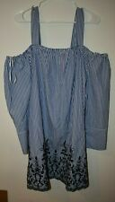 Nwt large Neiman Marcus Dress Blue Striped Off The Shoulder embroidery