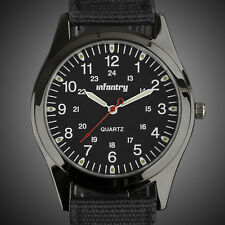 INFANTRY MENS QUARTZ WRIST WATCH ANALOG LUME MILITARY SPORTS ARMY BLACK NYLON