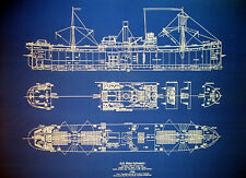 "WW2 Cargo Steam Ship Blueprint of vessel sunk by German U-Boat 24""x30"" (056)"