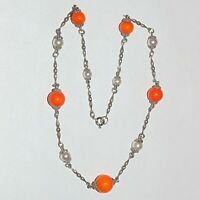 "Vintage orange glass beads faux pearl silver tone station necklace, 16"" long"