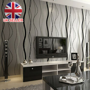 Black Grey Wave Striped Wallpaper Stripe Curve Feature Wall Bedroom Living 10M