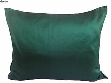 Large Oblong cushion cover 80x60 cm Pillow case solid Faux Silk Green