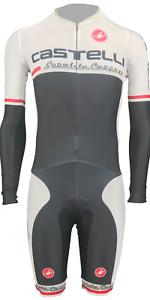 Castelli Men's White Cycling Long Sleeve Skin Suit Size XS-XXXL Kiss Chamois