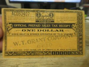 c1933 State Of Ohio Prepaid Sales Tax Punch Card Receipt WT Grant Company Store