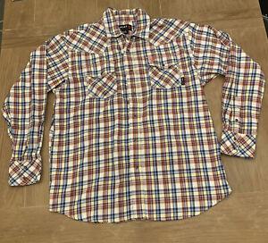 Ariat Work FR Flame Resistant Cat 2 2112 Plaid Shirt Size XL Men's Pearl Snaps