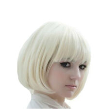 Cosplay Party  Women Hair Full Bob Straight Synthetic Natural White Blonde Wigs