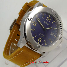 43mm parnis blue dial date sapphire crystal miyota 8215 automatic mens watch 997